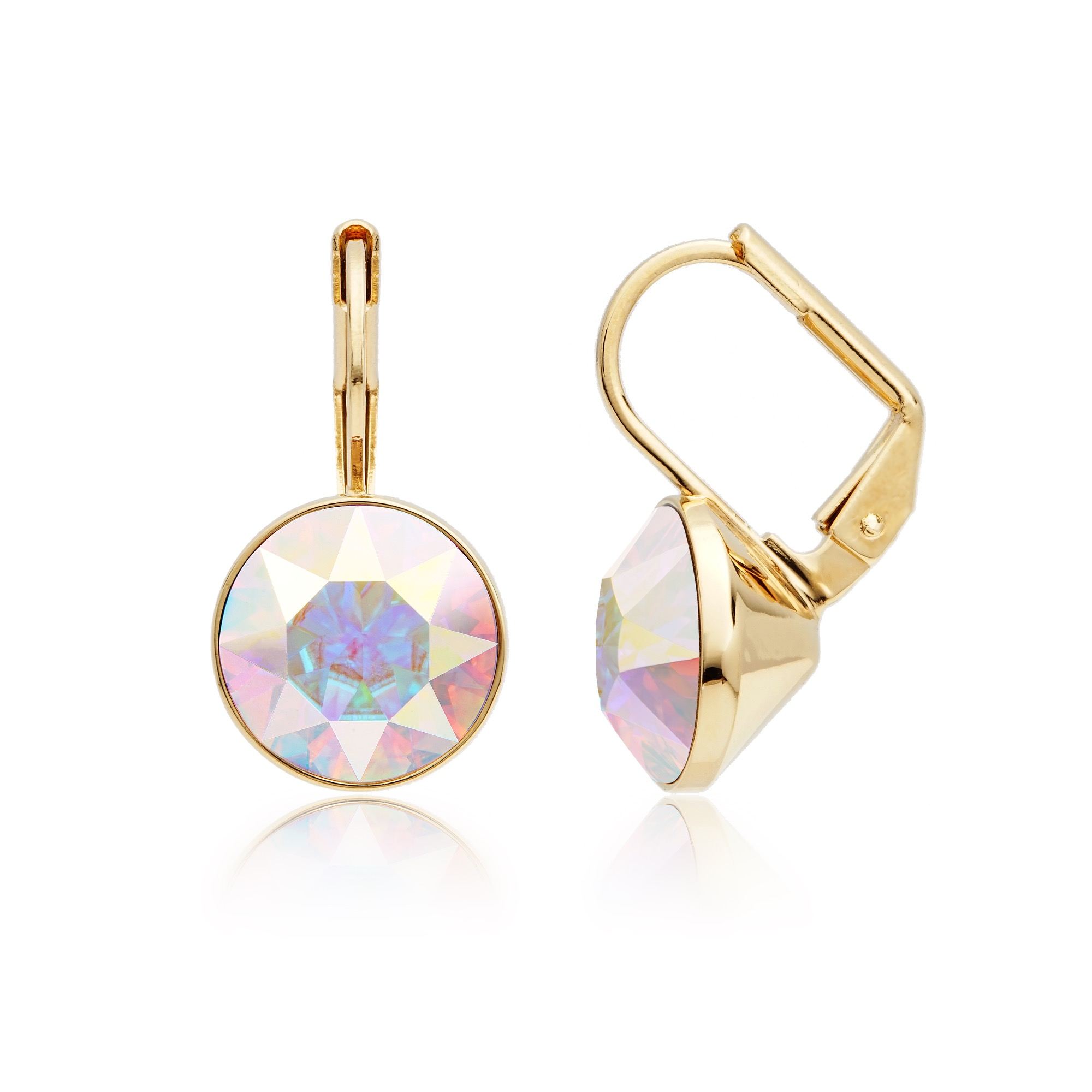 Bella Earrings With 4 Carat Aurora Borealis Crystals Gold Plated