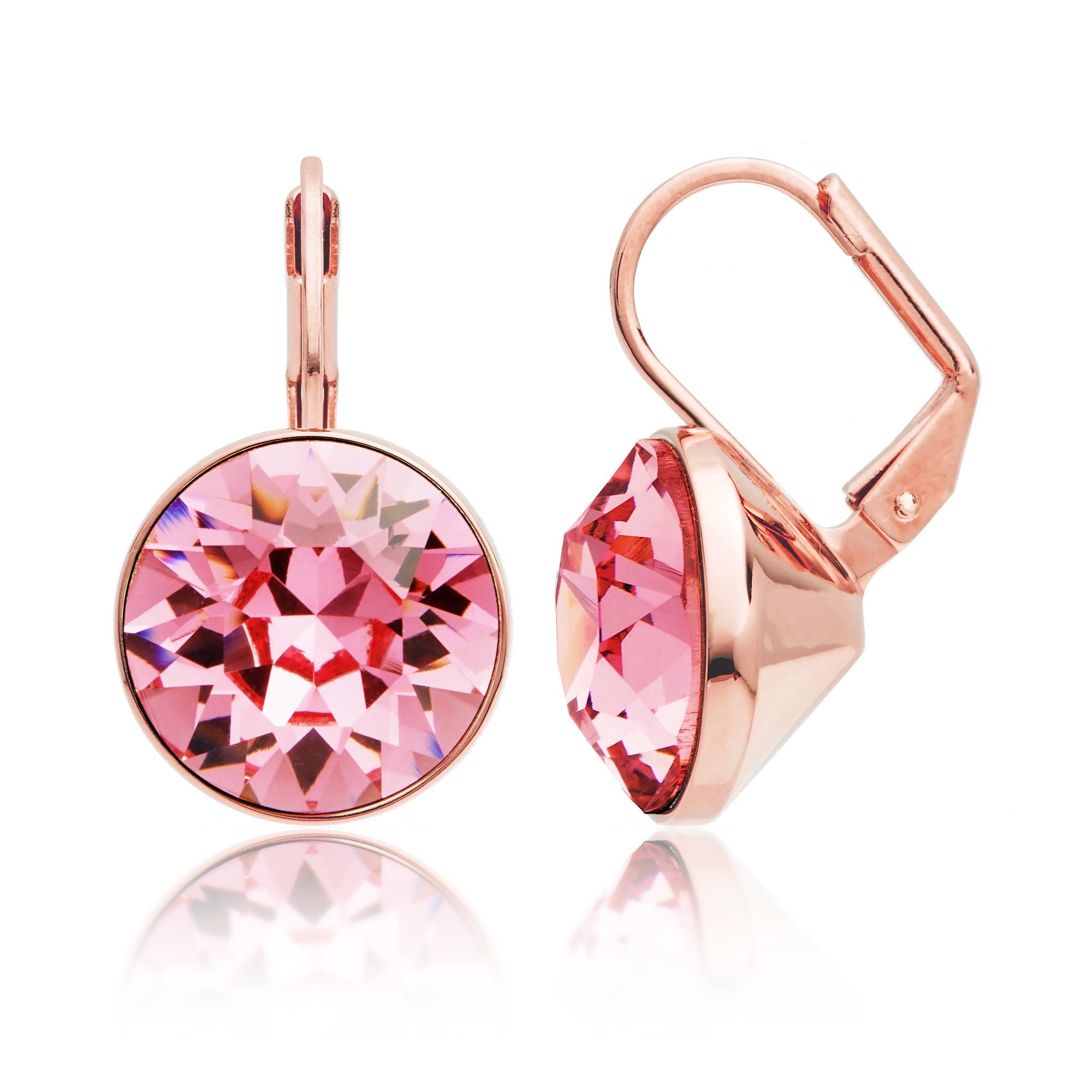47f372aaa Bella Earrings with 8.5 Carat Light Rose Swarovski® Crystals Rose ...