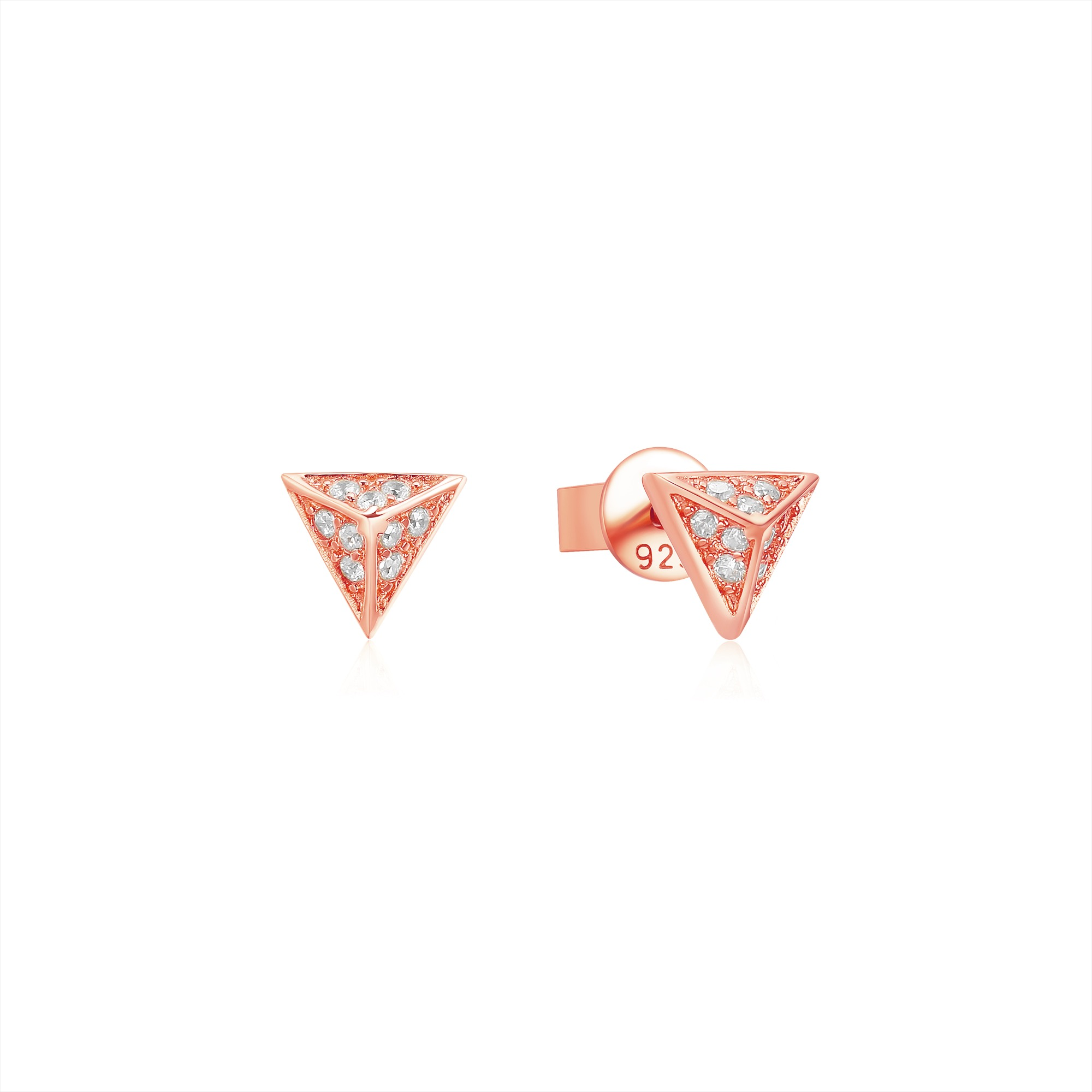 405225a39 Triangle Pyramid CZ Pave Stud Earrings in Sterling Silver Rose Gold ...